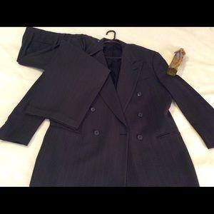 42R Pierre Cardin Double Breasted Dark Green Suit